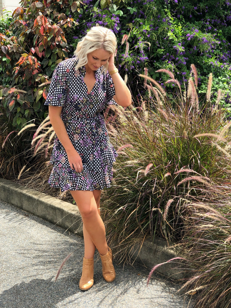 Prairie Flutter Sleeve Mini Dress