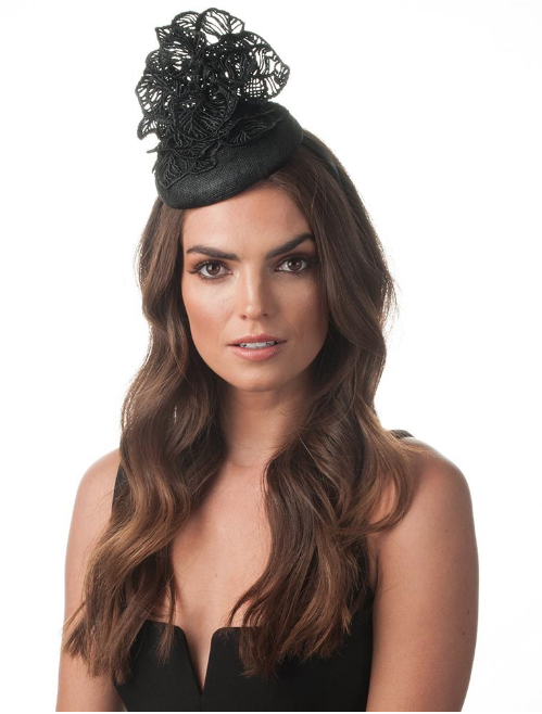 Kiara Leaf Lace Fascinator - Black