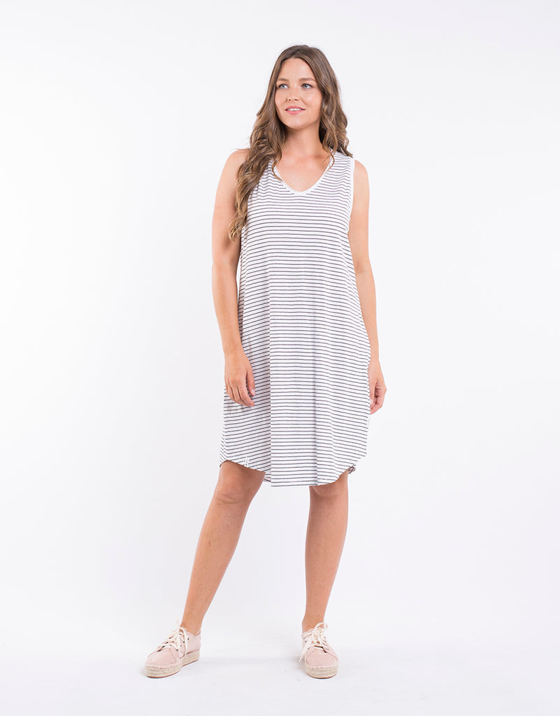 Fundamental S/S Dress - Black & White Stripe