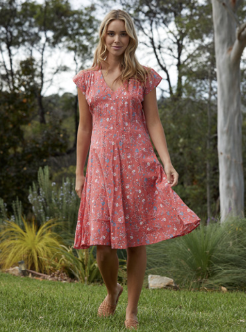 Dianna Dress - Ditsy Papaya