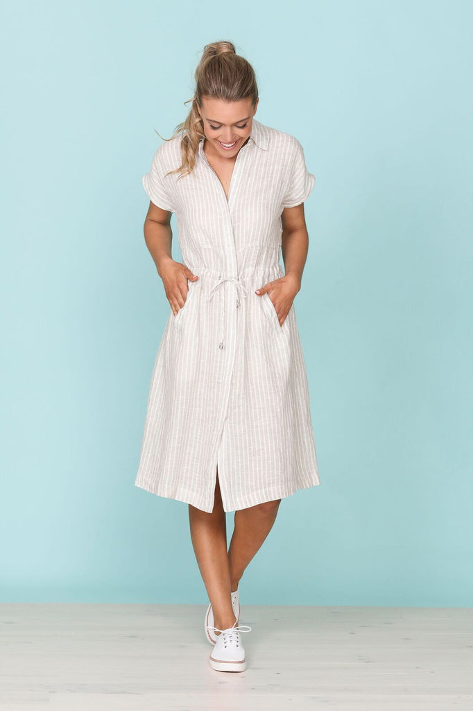 Bond Dress - Stripe Linen
