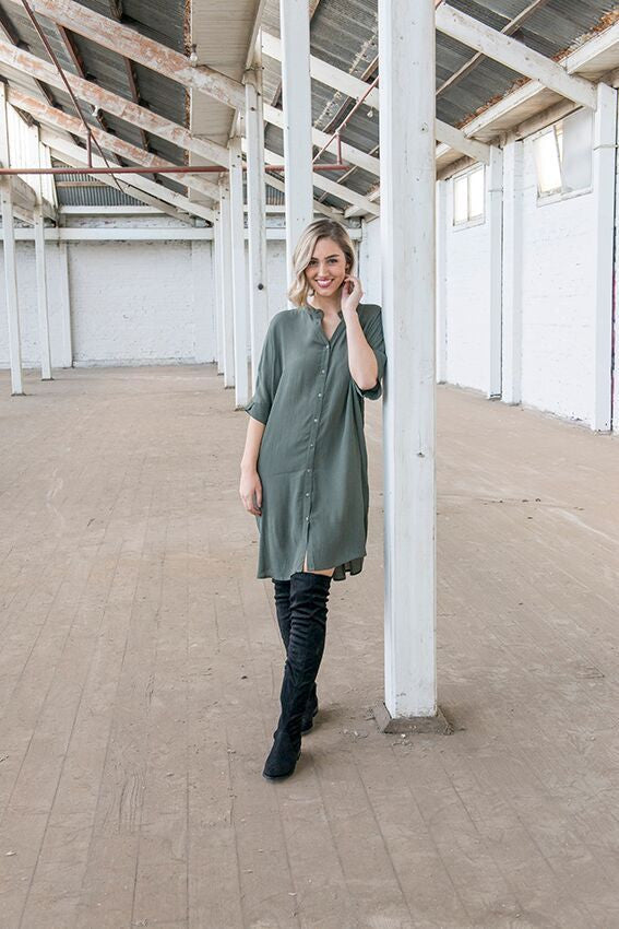 Button Back Dress - Khaki