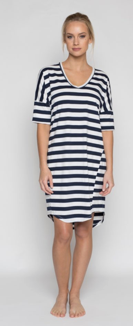 Riley Dress - Navy Stripe