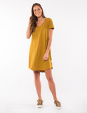 Mary Textured Dress - Dried Mustard