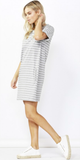 Blake Tee Dress - Silver Stripe