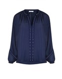 Embellished Studded Blouse - Navy