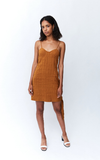 Tied In Mini Dress - Copper Stripe
