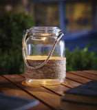 Solar Clear Hanging Glass Jar for Garden Bench