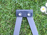 Plastic connecting block to hinge between garden gazebo roof trusses