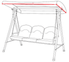 Homebase Malibu 3 Seater Swing Hammock Measurement Diagram