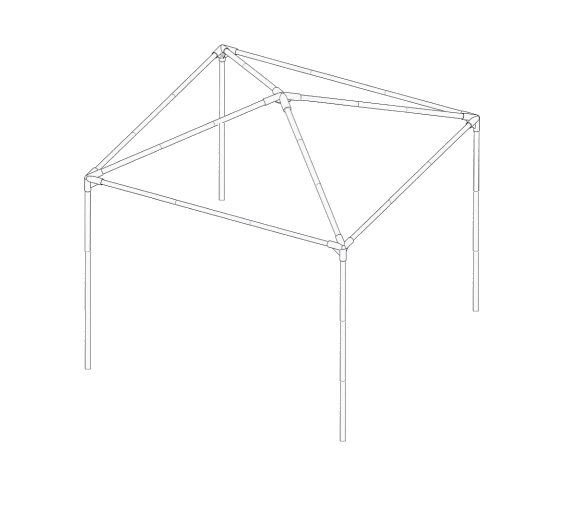 Set of connecting poles for a self assembly garden gazebo