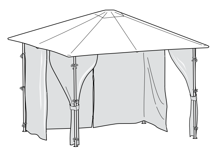 Universal Side Panel Set for 2.5m x 2.5m Patio Gazebo - Set of 4