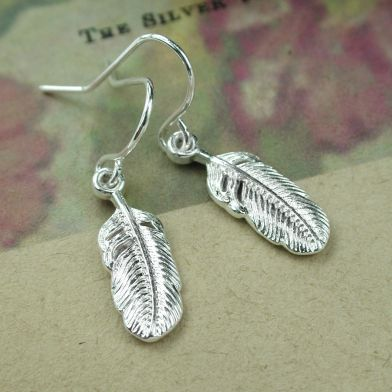 Silver plated feather drop earrings