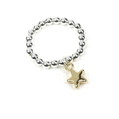 Silver plated bead ring with rose gold star