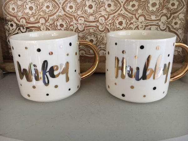 Hubby & Wifey stacking mugs