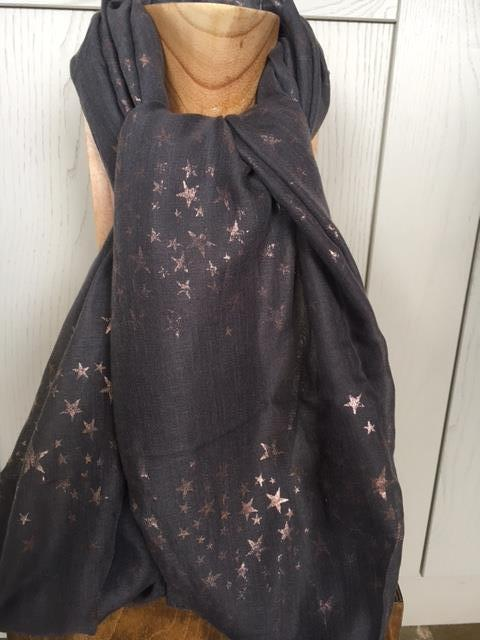 Grey scarf with rose gold stars