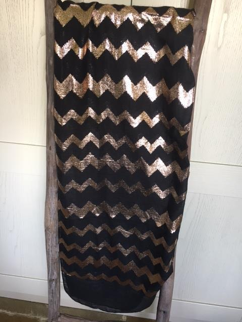 Black scarf with rose gold zigzags