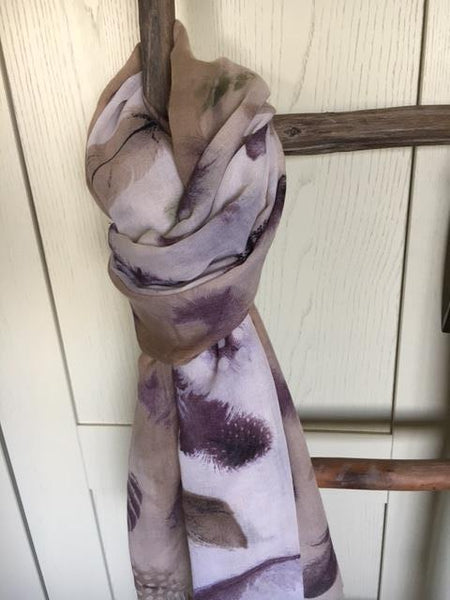 Taupe & aubergine feather scarf