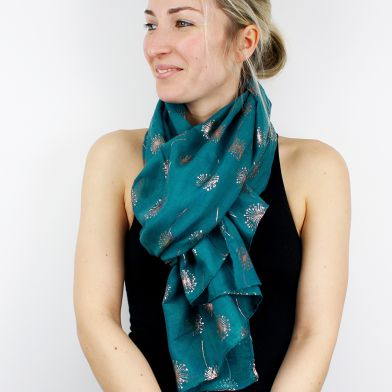 Teal Scarf with metallic rose gold dandelion print