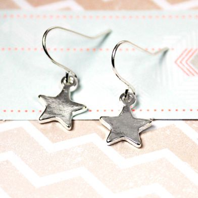 Silver plated star drop earrings