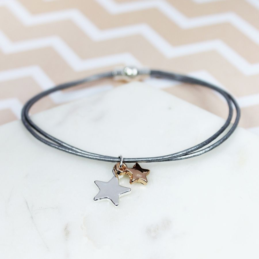 Grey Leather Bracelet with Rose Gold/Silver Stars