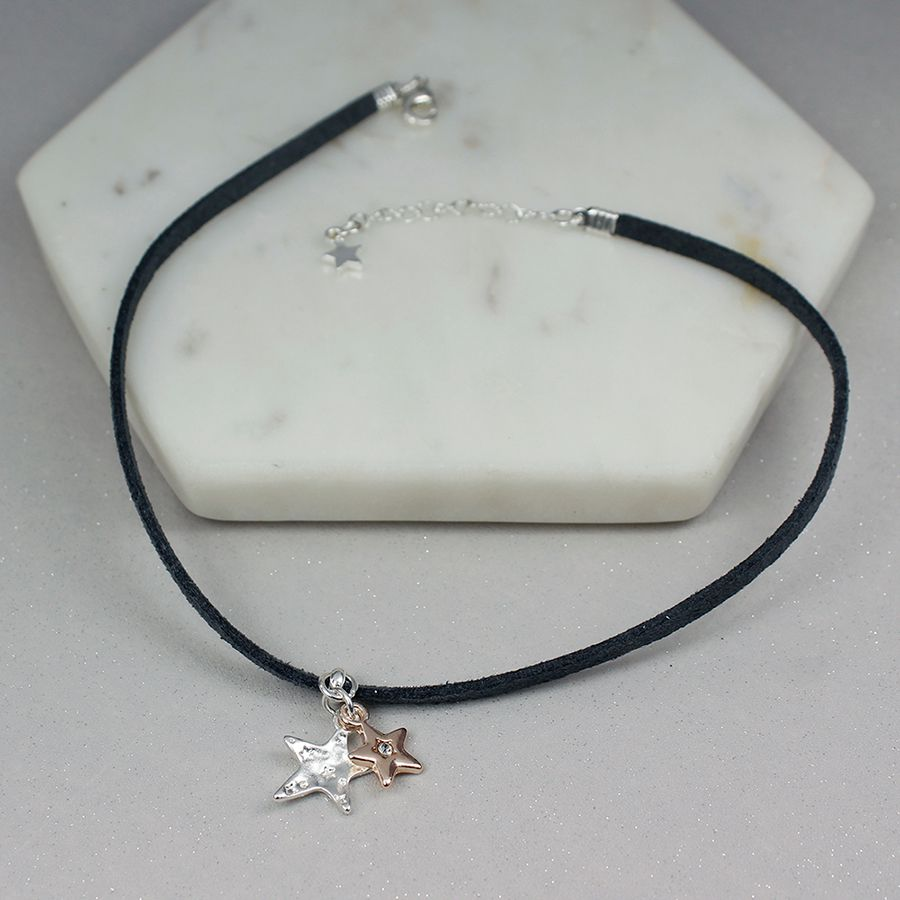 Dark Grey Choker With Stars And Crystal