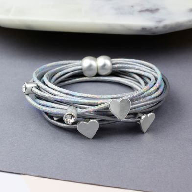 Grey Stardust And Silver Hearts Bracelet