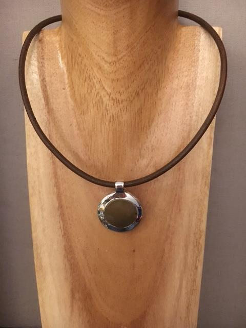 Brown leather necklace.