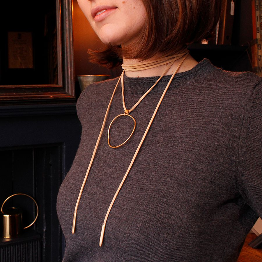 Taupe Cord Washed Gold Necklace