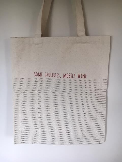 Some groceries mainly wine tote bag