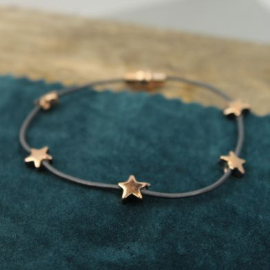 Dark Grey Leather/ Rose Gold Stars Bracelet