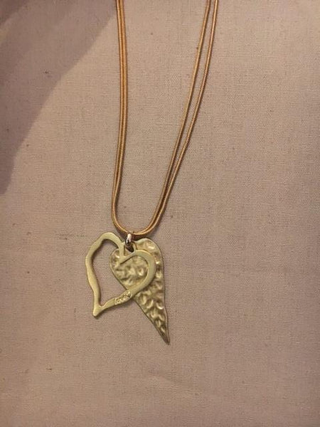 Gold dual heart necklace