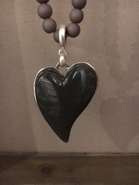 Long grey heart necklace
