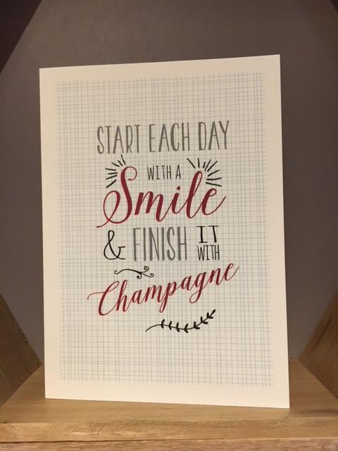 Start each day with a smile Greetings card