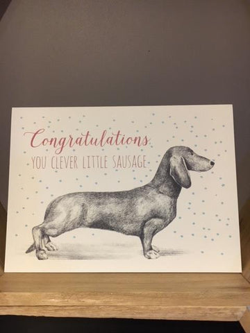 Congratulations you clever little sausage greetings card