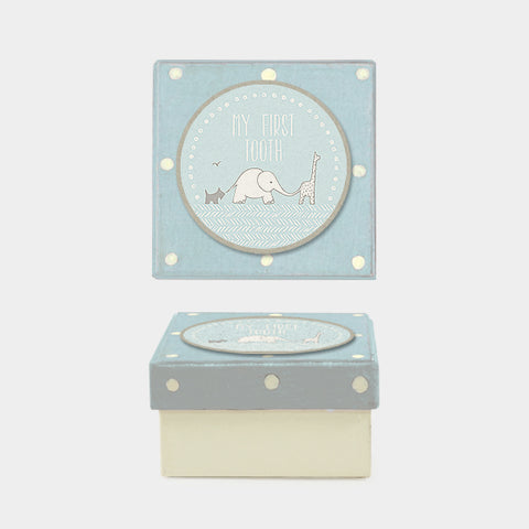 My First Tooth/ Blue dotty box - Christening gift