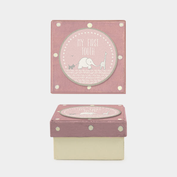 My First Tooth/ dotty pink box - christening gift