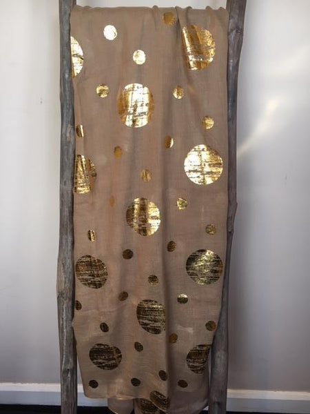 Beige scarf with gold spots