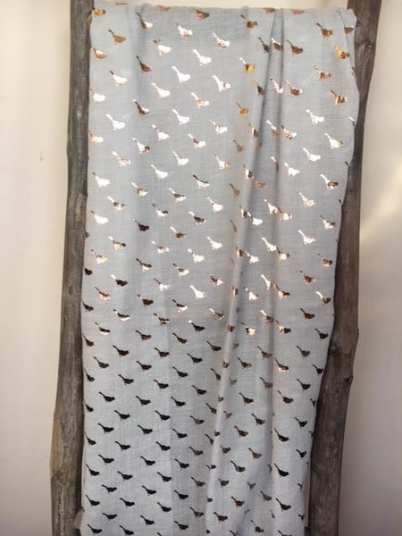 Grey scarf with foil bird print