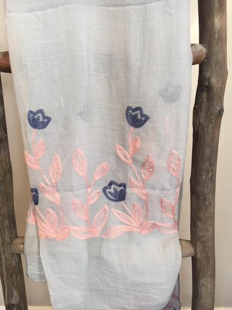 Grey scarf with pink & blue flowers