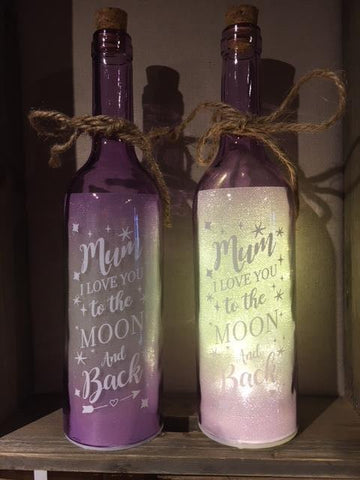 Mum I love you to the Moon & Back LED bottle