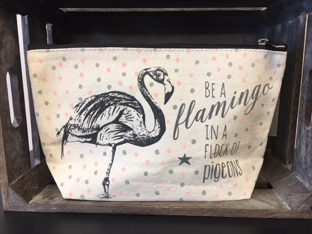 Be a flamingo in a flock of pigeons make up bag