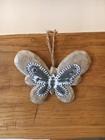 Wooden and metal hanging butterfly