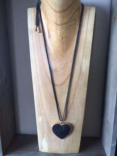 Long black leather heart necklace