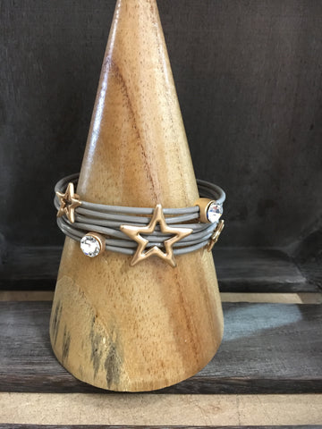 Star leather wrap bracelet