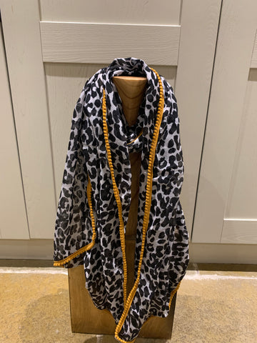 Leopard print scarf with mustard edging