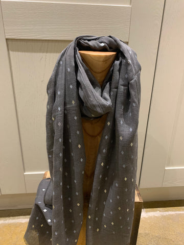 Grey scarf with white & gold diamonds