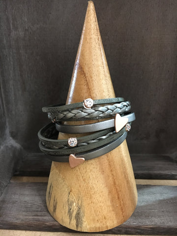 Grey leather & rose gold heart wrap bracelet