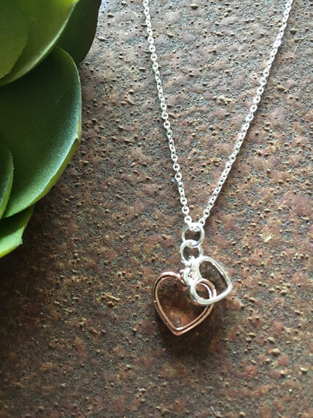Silver & Rose gold heart necklace