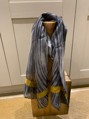 Grey Scarf with mustard stripe